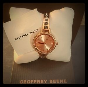 Trendy! Rose gold & silver stud watch